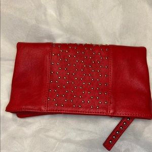 EXPRESS red studded clutch